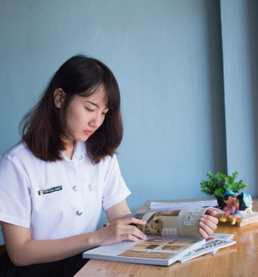 Asian Girl Magazine Student Read Women Book